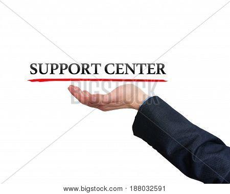 Businessman Showing Support Center Sign