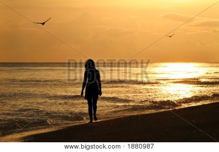Young Woman On Sunset Walk