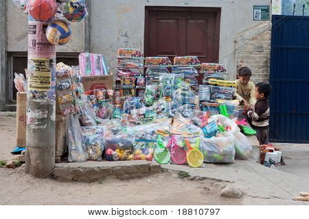 Street Stall With Toys And Home Appliances
