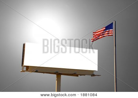 Billboard And American Flag With Sun Behind