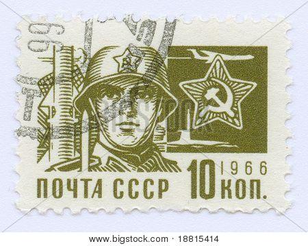 Sello vintage de la propaganda soviética