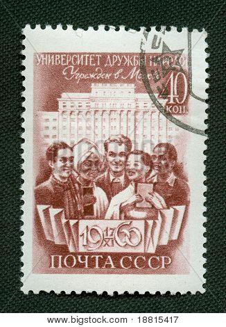 Soviet propaganda vintage  stamp from 1960
