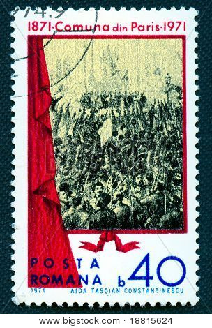 Romanian  propaganda vintage  stamp