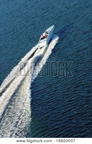 People on the boat racing