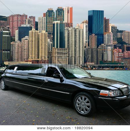 Black limousine in Hong Kong