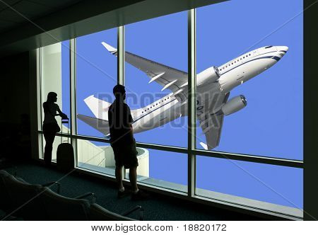 Passengers watching airplane while waiting for the flight