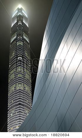 Skyscraper at night in Hong Kong