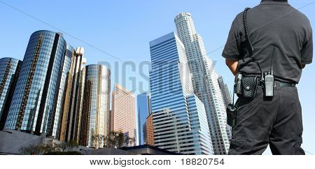 Security agent watching downtown area