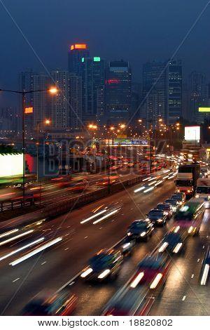 Traffic jam in Hong Kong at night