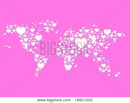 Hearts pink world map