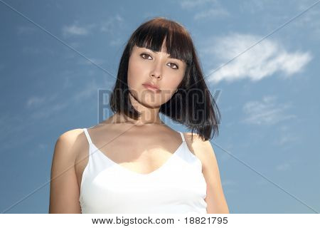Beautiful Girl On A  Blue Sky