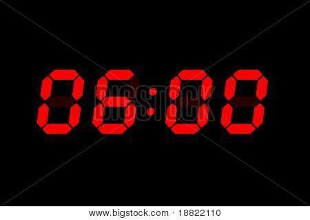 six o'clock - wake-up time - lcd digital display