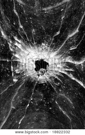 Bullethole in a glass