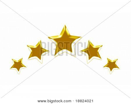 Five golden stars on white
