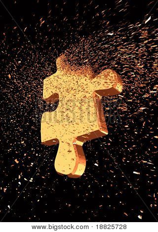 Shattered jigsaw puzzle