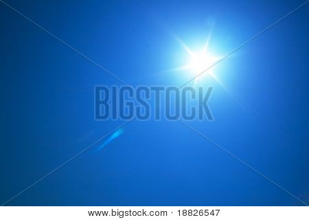 Bright sun in blue sky