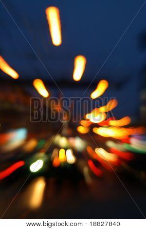 Abstract long exposure shot of traffic at night