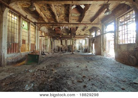 Abandoned rusty factory interior