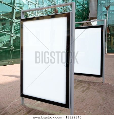 Modern empty advertising billboards