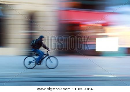 Riding a bike on a street