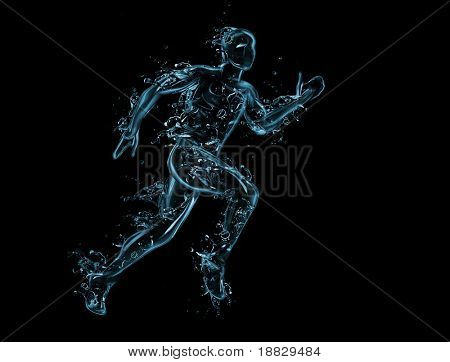 Running man liquid artwork on black - Athlete figure in motion made of water with falling drops
