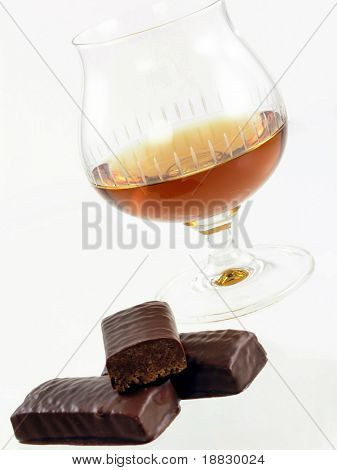 A glass of rum and chocolate