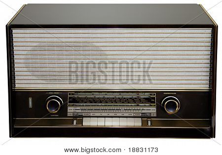 Retro radio isolated on white background with clipping path