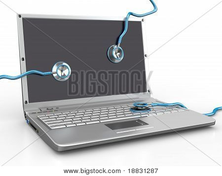 Service For Laptop Repair. Laptop And Stethoscope