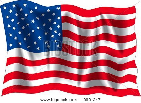 USA wavy flag isolated on white background