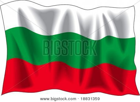 Waving flag of Bulgaria isolated on white