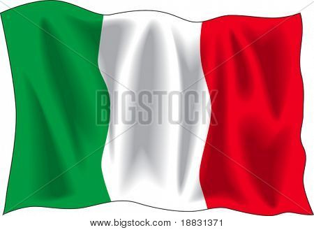 Waving flag of Italian isolated on white