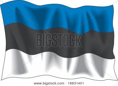 Waving flag of Estonia isolated on white