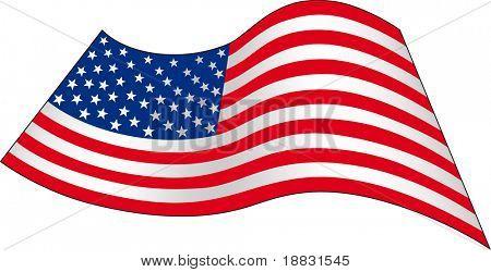 USA wavy flag isolated on white background