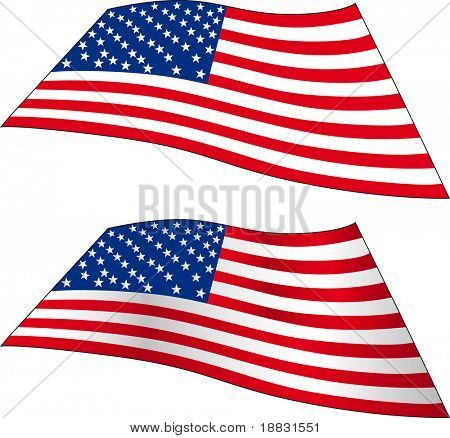 Accurate and brushed waving USA flag