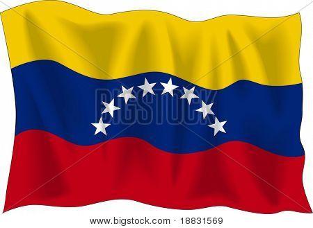 Acenando a bandeira da Venezuela isolado no branco