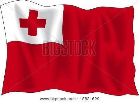 Waving flag of Tonga isolated on white