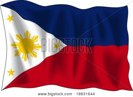 Waving flag of Philippines isolated on white