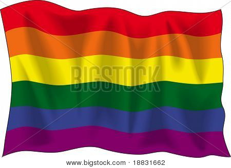 Waving flag of Gay pride isolated on white