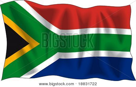 Waving flag of South Africa isolated on white