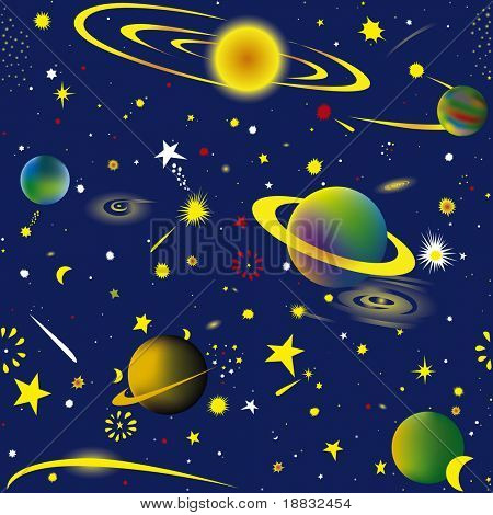 Seamless vector illustration of fantasy cosmic sky wallpaper
