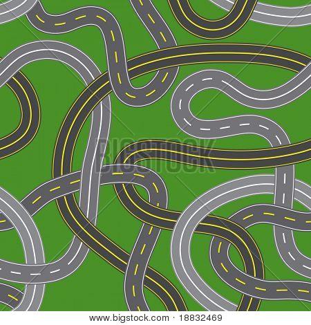 Vector illustration of seamless crossroads