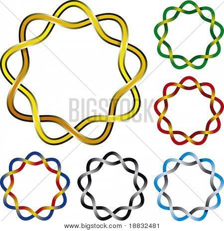 Vector illustration of six complex celtic knots circles