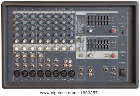 Multichannel sound mixer console board isolated with clipping path