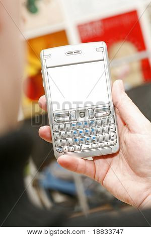 business cell phone with white place