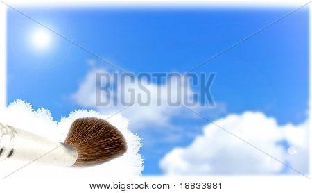 fundo do céu com escova de pintura