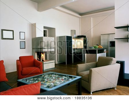 modern open space with fire place