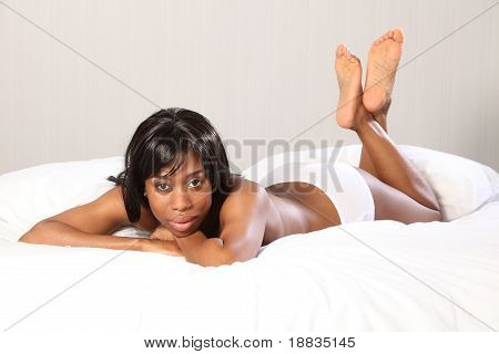 Sexy Young Topless Black Woman In Bedroom