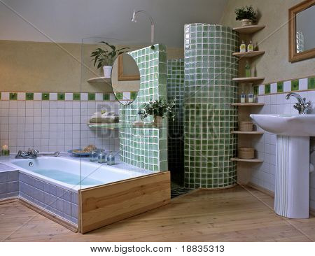 big bathroom with green mosaic