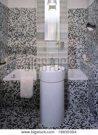 small modern bathroom in mosaic