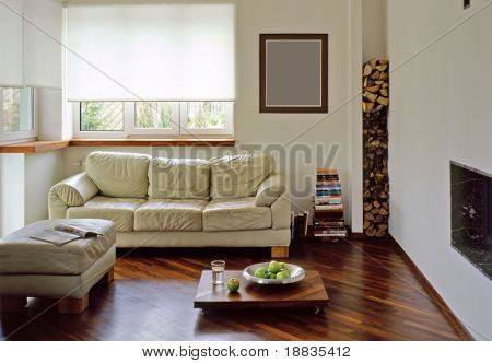sunny living room with fire place